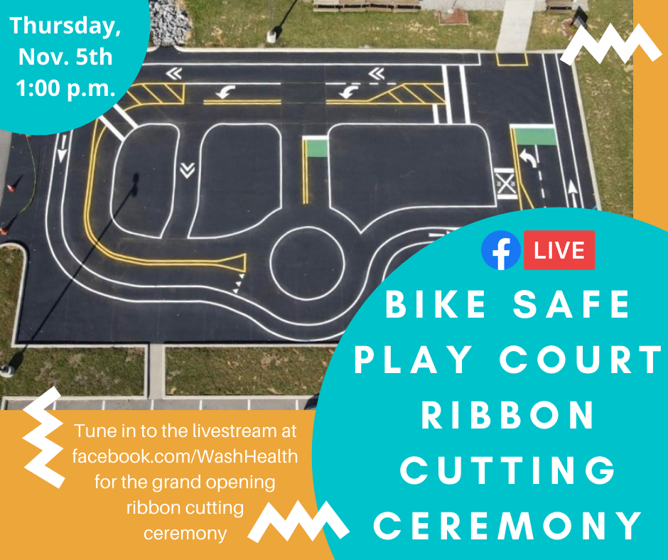 Bike Safe Play Court grand opening announcement
