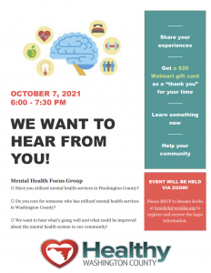 Mental Health Focus Group Flyer